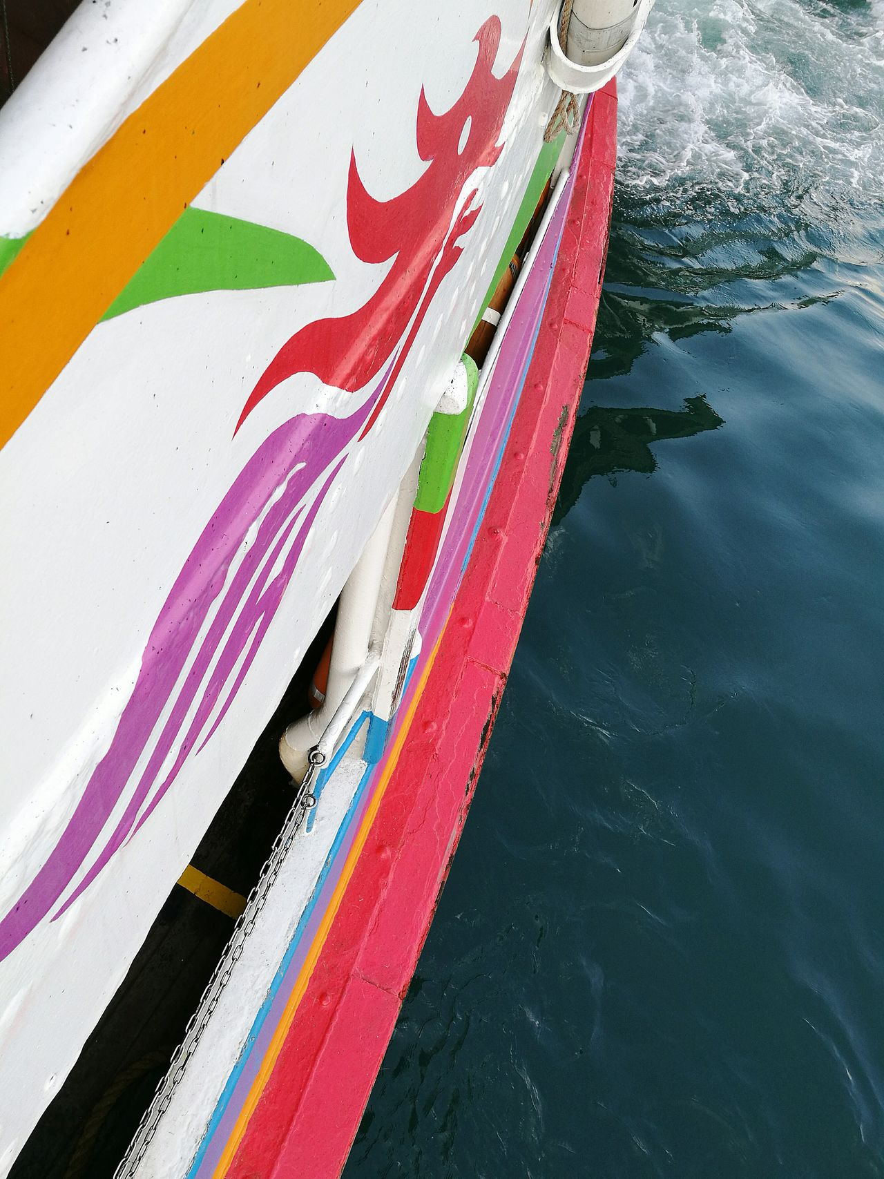 Multi Colored Red No People Outdoors Day Close-up Creativity Diagonal Water Boat Ferry Star Ferry Nautical Vessel Looking Down Hong Kong Sea