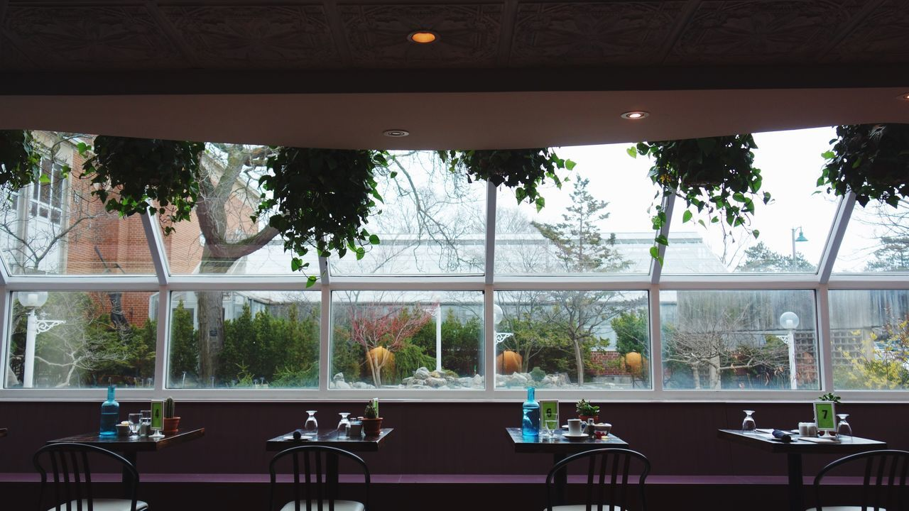 Got to eat at this beautiful restaurant today while visiting the Royal Botanical Gardens. Tree Chair No People Balcony Day Outdoors Sky Resturant Purple Window Plants Nature Burlington Royalbotanicgardens Food Drink Rx100 EyeEmNewHere Indoors