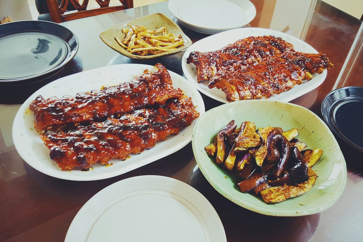 어제 가족만찬~ 배부르게 폭립왕창창창창. 폭립은 귀찮아도 해먹는게 개이득!! Family Dinner Barbecued Pork Rib Pork Ribs Dinner Yesterday Selfcook Enjoying Life Enjoying Mushroom Eggplants