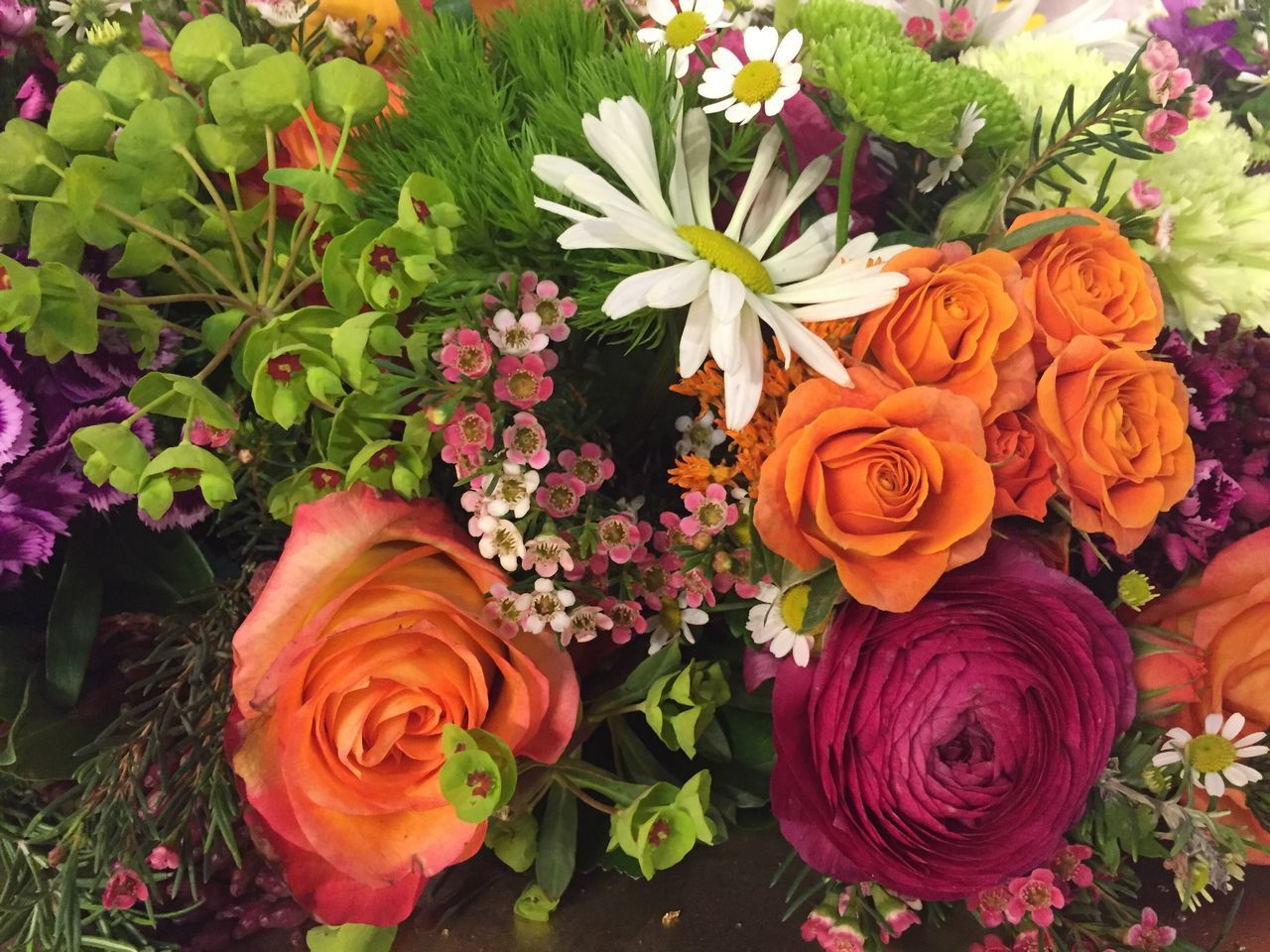 Flower bouquet with orange roses Flower Fragility Beauty In Nature Freshness Nature Petal Multi Colored Plant Flower Head Leaf Bouquet Growth No People Close-up Outdoors Day Gerbera Daisy Flower Market Dahlia Plant Flowerbed Nature Valentine's Day  Rose - Flower Flower Arrangement