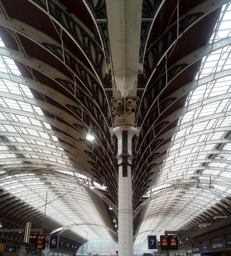 Fan arched ceiling/rood of Paddington Railway Station, London. Great Western Raiilway GWR London Railway Station Paddington Paddington Station Paddington Station, London Railroad Station Railroad Station Platform Railway Railway Station Railway Station Platform