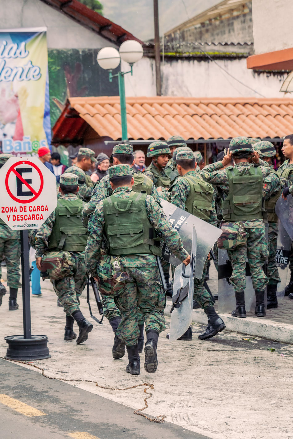 Banos De Agua Santa, Ecuador - 23 June, 2016: Army Of Ecuador Organize The Welcoming For The President Rafael Correa, Ecuador, South America Adult Adults Only Army Army Life Army Soldier Camouflage Clothing City Crowded Day Ecuador Elections Group Of People Manifestation Men Military Military Life Military Uniform Outdoors Peace People Police President Protection South America Uniform
