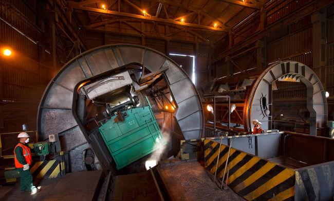 Russia, Lipetsk, coal yards, wagon tippler, Novolipetsk steel Coal Yards Empty Illuminated Lipetsk Mode Of Transport Novolipetsk Steel Russia Stationary Wagon Tippler