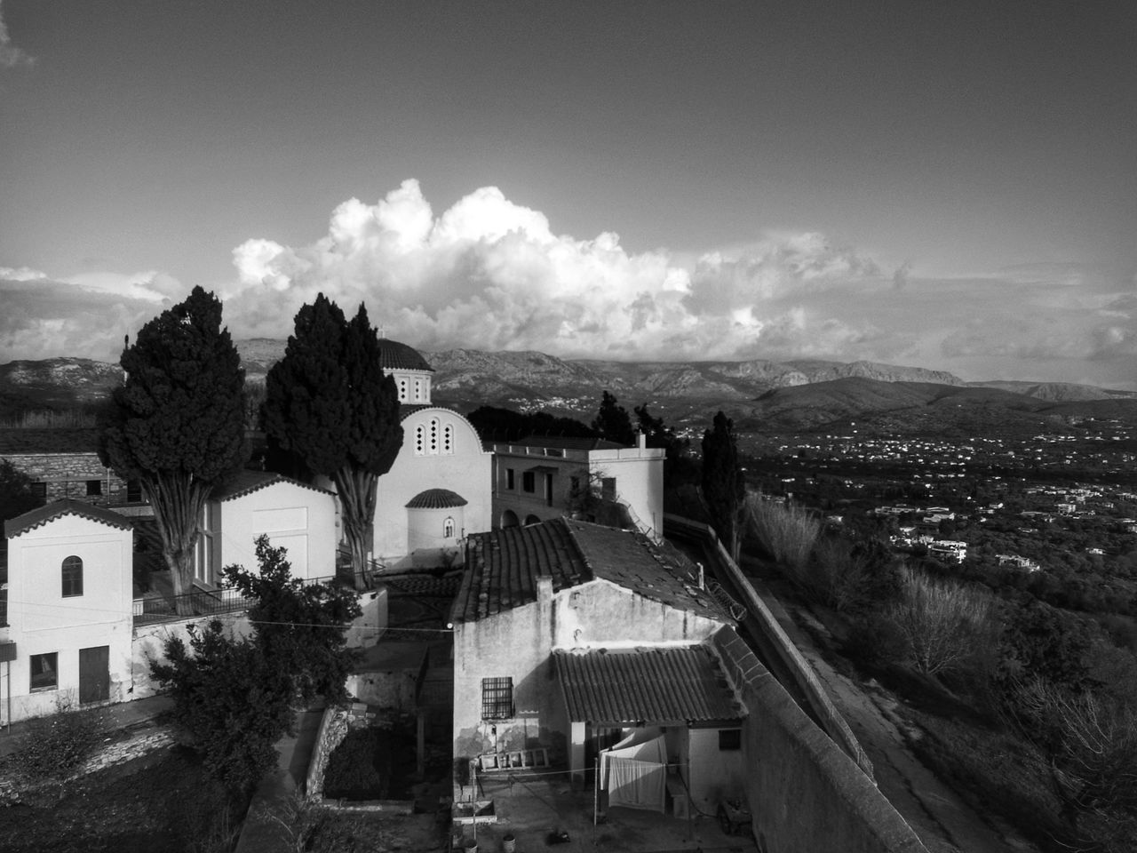 Blackandwhite Photography Religious Architecture Aerial Shot Dronephotography Monastery Church Architecture Morning Light Tranquility Religion Architecture Church Aerial View Beauty In Nature Blackandwhite Outdoors Travel Destinations Cloud - Sky Scenics