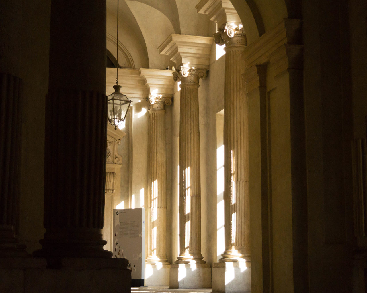 architectural column, indoors, architecture, illuminated, built structure, corridor, no people, curtain, home interior, day