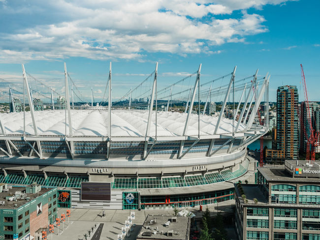 BC Place Stadium Architecture BC Place Building Exterior Built Structure Canada City Cloud - Sky High Angle View Sky Stadium Vancouver