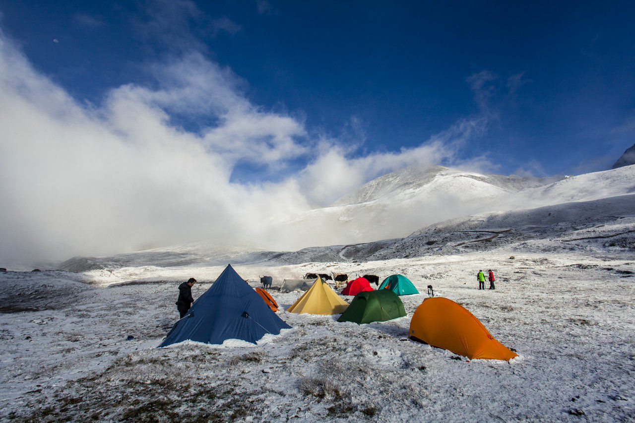 sky, tent, day, cold temperature, nature, cloud - sky, snow, mountain, outdoors, beauty in nature, vacations, scenics, no people