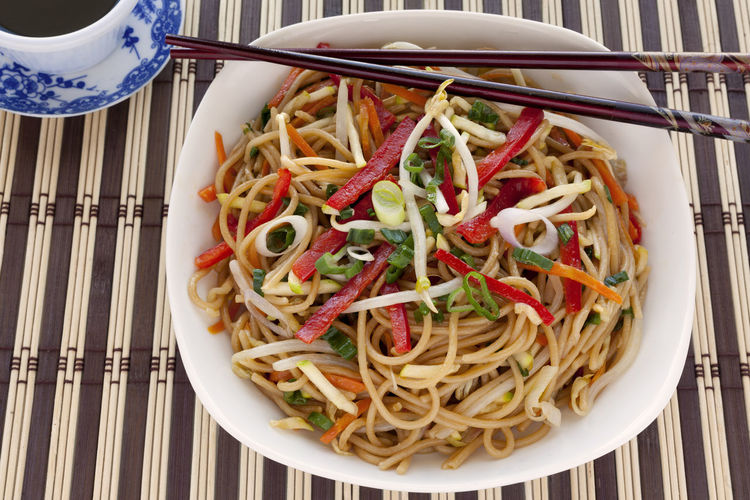 Asian Style pasta with vegetables. Asian Style Asian Style Food Bowl Carrots China Chopsticks Chow Mein Close-up Day Food Food And Drink Freshness Healthy Eating Indoors  No People Pasta Plate Ready-to-eat Red Pepper Soy Sauce Soybean Sprouts Spaghetti Sprouts Studio Shoot Zucchini