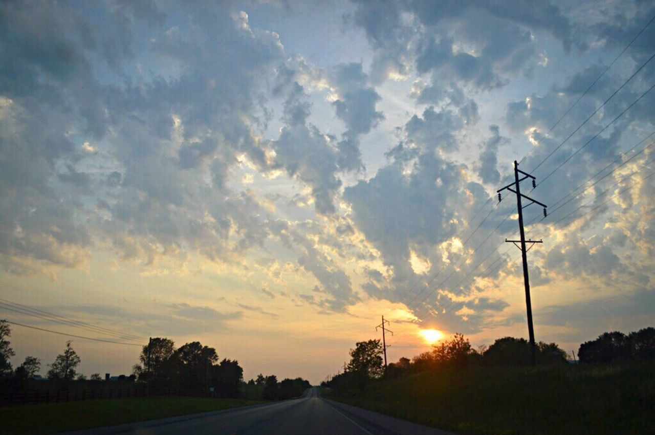 sunset, connection, sky, silhouette, cloud - sky, electricity pylon, cable, electricity, road, no people, fuel and power generation, tree, nature, tranquility, outdoors, technology, beauty in nature, telephone line, day