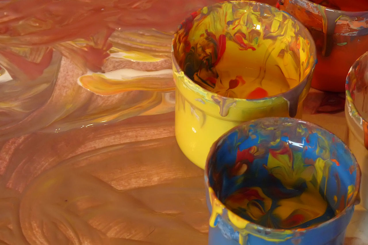 Brown Close-up Colored Hands Indoors  Multicolor Multicolored Multicolors  No People Pail Paint Paint Bucket Painting Painting Art Yellow
