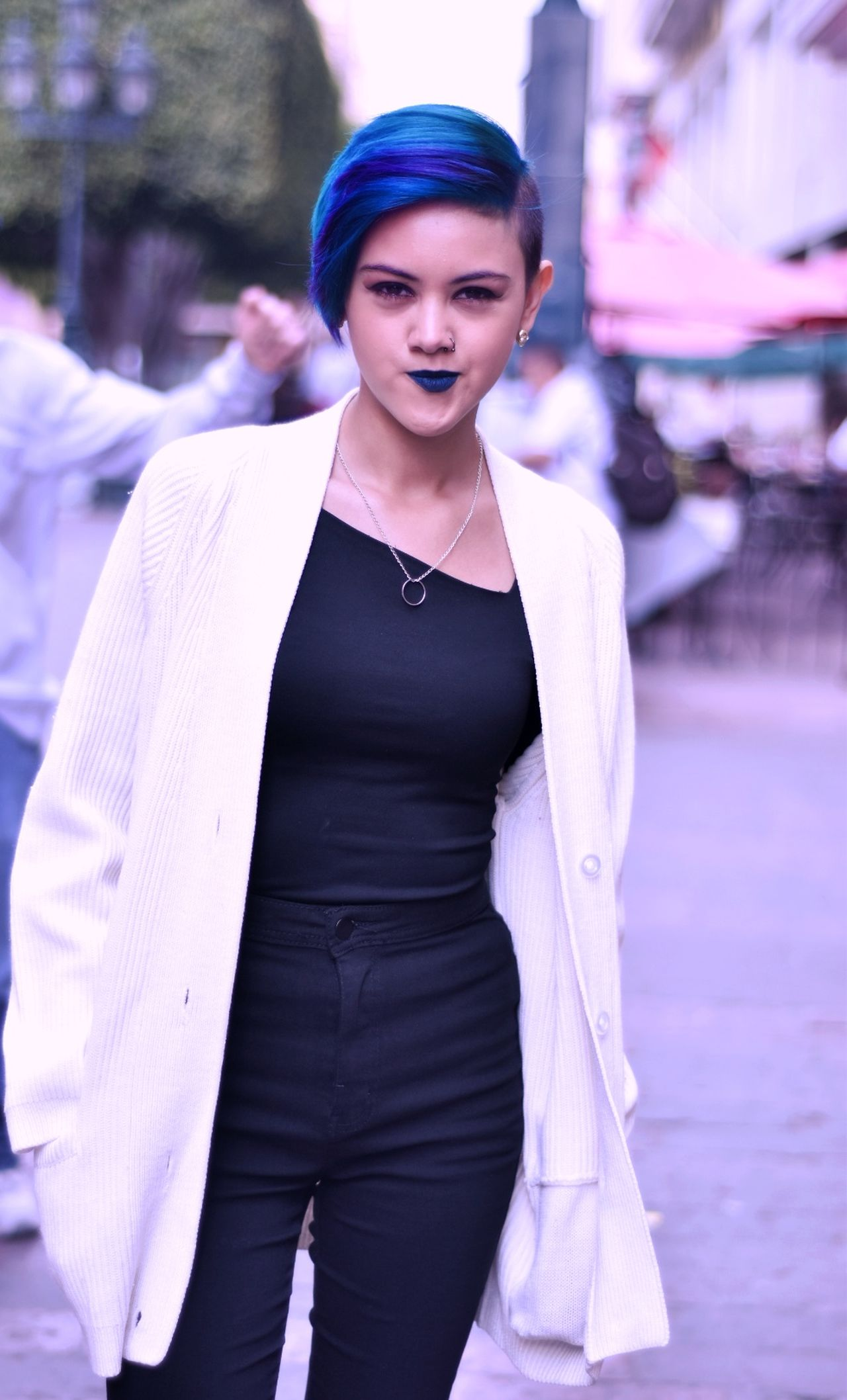 BlueHair Manicpanic Fashion Front View One Woman Only One Person Beautiful People Portrait Only Women Beauty Outdoors Beautiful Woman Black Color People Day Tumblrgirl First Eyeem Photo