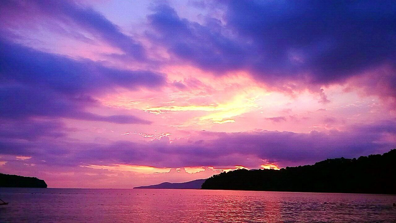 scenics, beauty in nature, nature, tranquil scene, tranquility, mountain, sunset, outdoors, cloud - sky, no people, sky, water, sea, day