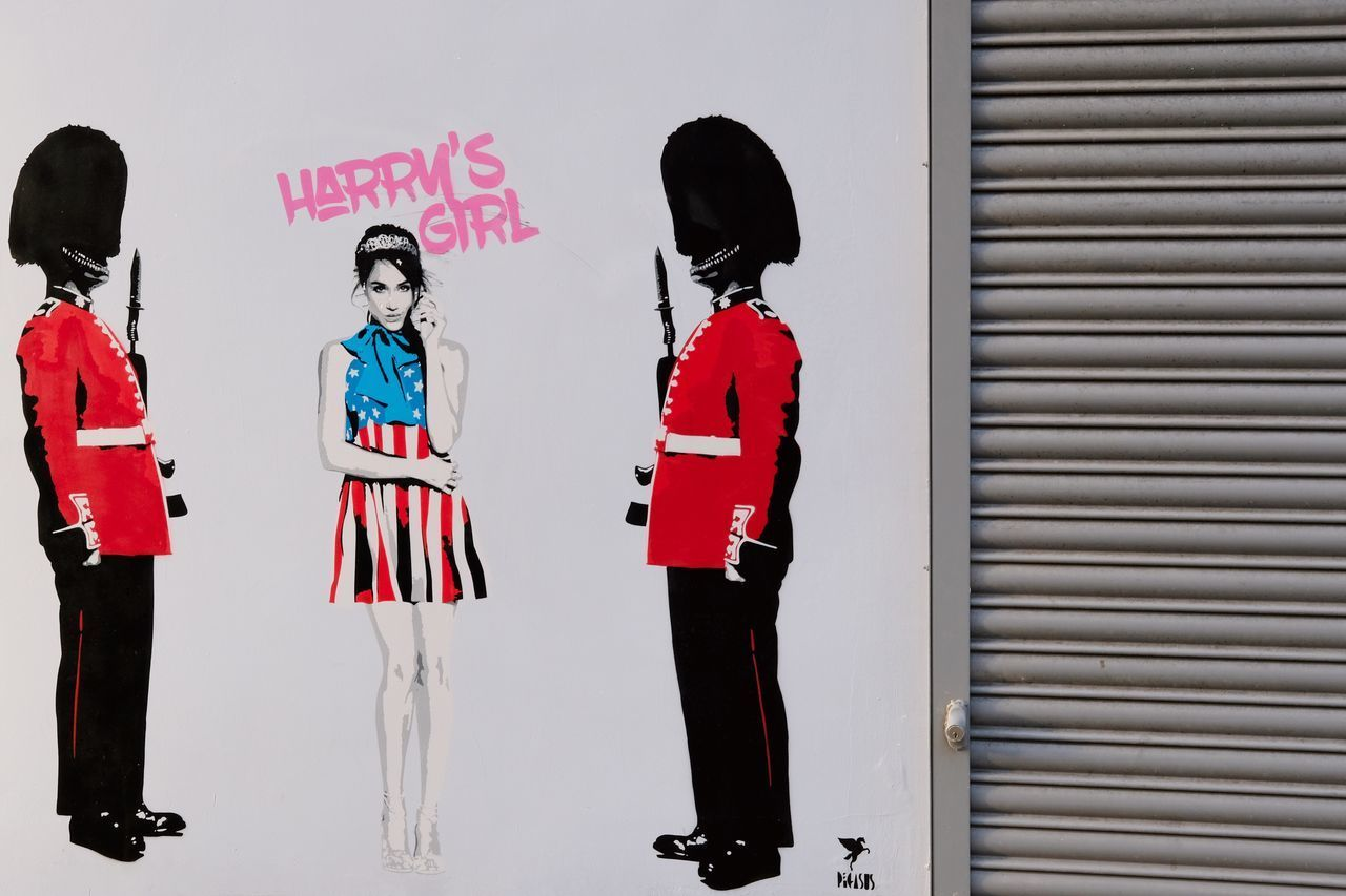 Full Length Red Lifestyles Street Photography Gossip Royal Meghan Markle Prince Harry Backgrounds Wallpaper Street Street Art ArtWork Art EyeEm Best Shots Check This Out Wall Girlfriend Graffiti Graffiti Art Outdoors by Pegasus in Highbury & Islington London , United Kingdom