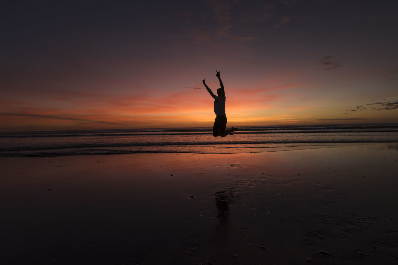 Beach Beauty In Nature Brazil Horizon Over Water Jericoacoara Lifestyles Nature One Person Orange Color Outdoors People Real People Sand Scenics Sea Silhouette Sky Sun Sunset That's Me Tranquil Scene Travel Destinations Water
