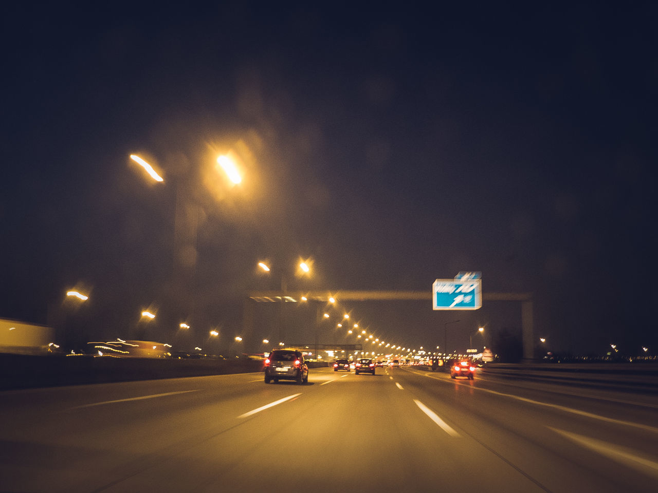 too fast Autobahn Driving Headlights And Taillights Highway Illuminated No People Speed Limit Speed Limit Sign Streetsign Adapted To The City The City Light
