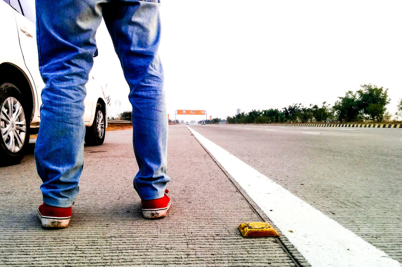 Day Highway Human Body Part Human Leg Leisure Activity Lifestyles Limb Low Section Men One Person Outdoors People Road Roadtrip Yamunaexpressway