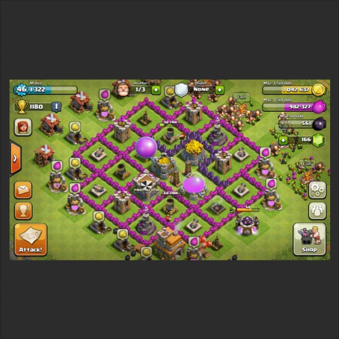 Building my purple walls and mortars. TownHallLvl7 Clashofclans