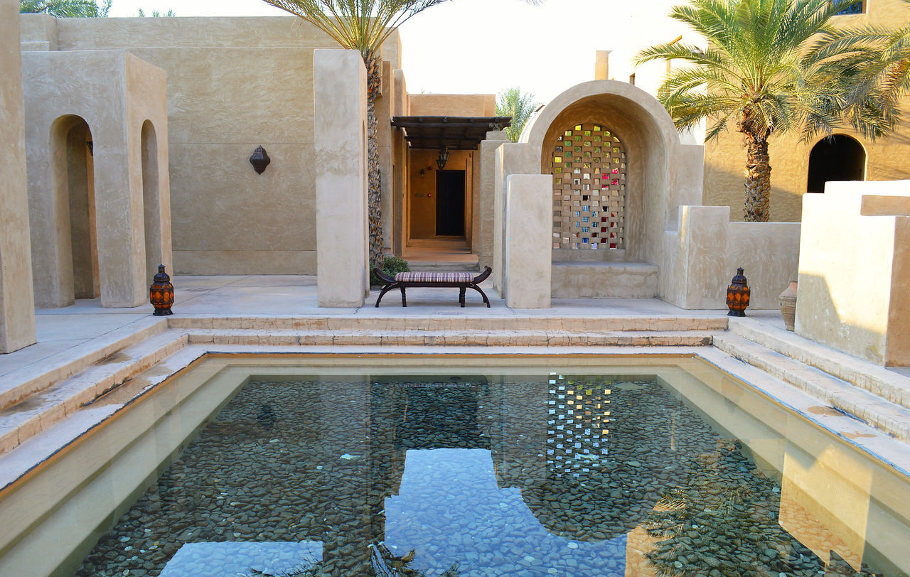 Arabic Architecture Arabic Style Arch Architectural Column Architecture Bench Building Exterior Built Structure Outdoors Pool Reflection Travel