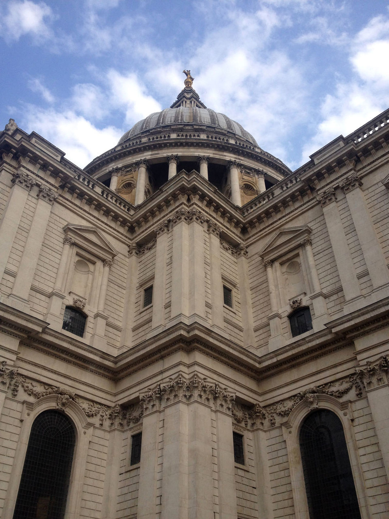 Looking up at St Paul's Cathedral in London, UK. Baroque architecture by Sir Christopher Wren after the Great Fire of London. Architecture Architecture Architecture Facade Architecture Photography Architecturelovers Architecturephotography Architectureporn Building Exterior Built Structure City Of London City Of London Tourism Cloud - Sky London London Architecture LONDON❤ Low Angle View No People Outdoors Pediment St Paul's Cathedral St Paul's Cathedral London St Pauls Cathedral