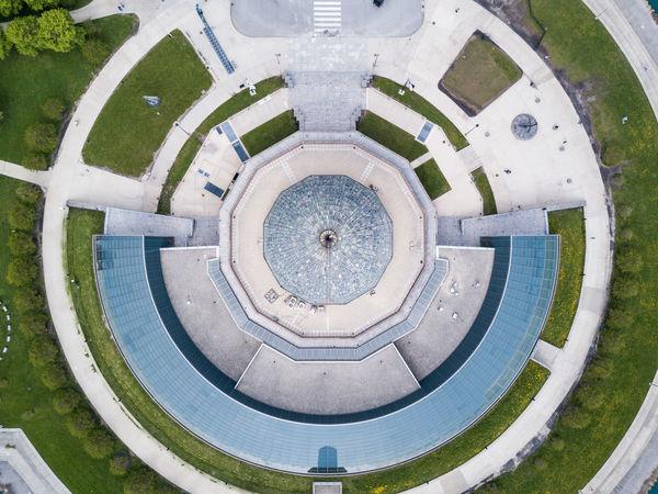 Aerial view of Adler Planetarium in Chicago Architecture Astronomy Built Structure Chicago Chicago Architecture Circle Circular Day Dome Domestic Animals History Indoors  Museum No People Planetarium Telescope Travel Destinations