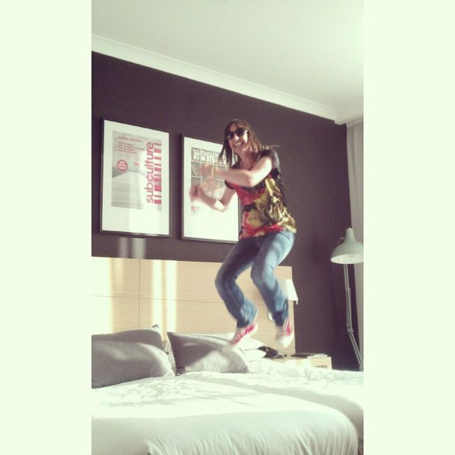 In Glasgow mainly using the bed as a bouncey castle :) Mycamerastories Ned Bouncey Glasgow  hotel goodtimes ace live love