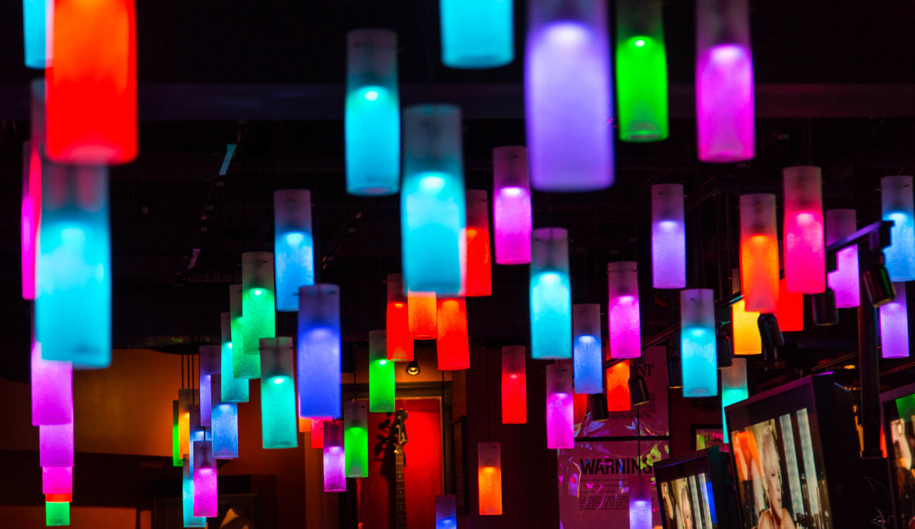 night, illuminated, multi colored, colorful, no people, close-up, variation, indoors, neon