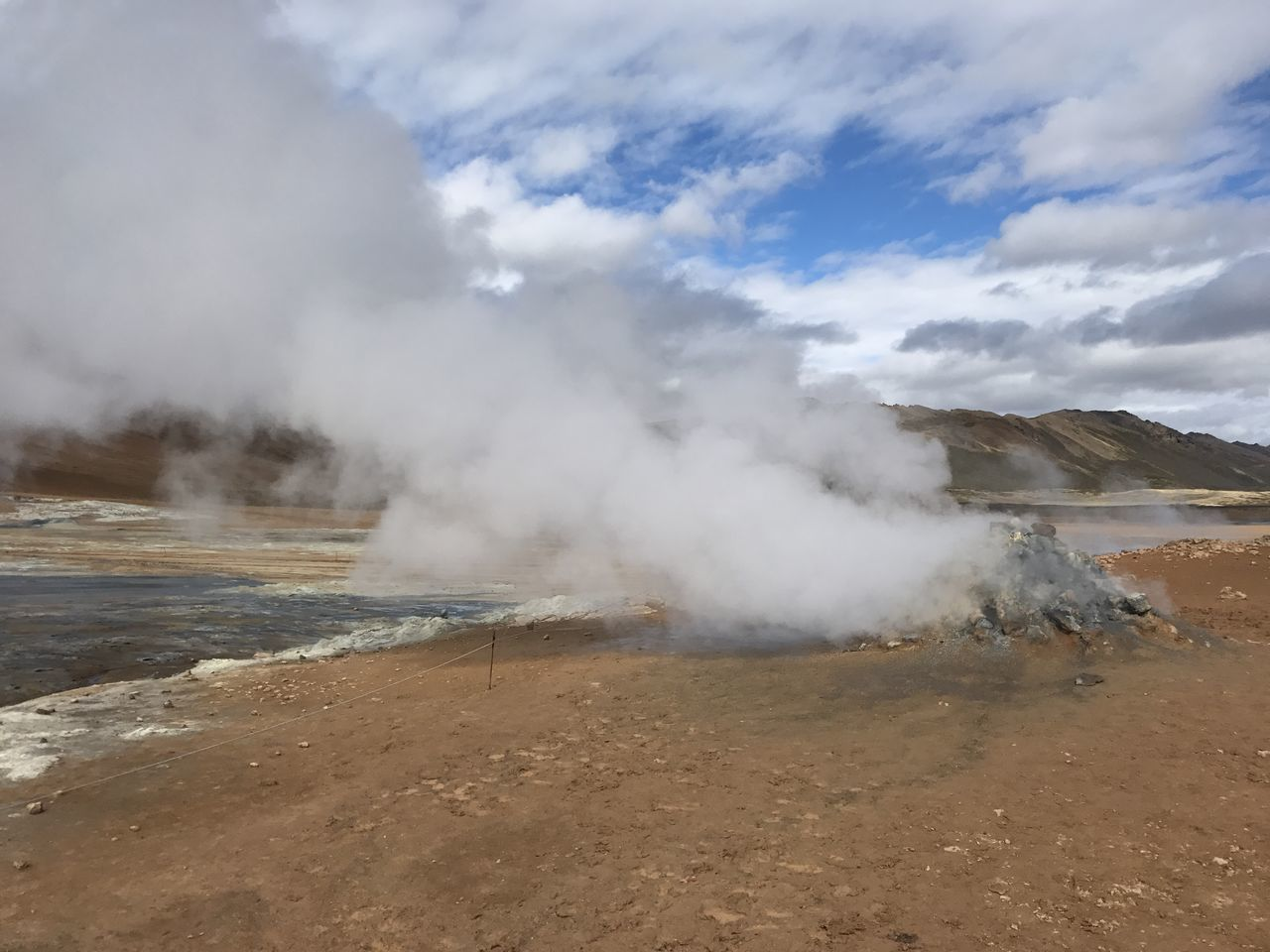 geology, smoke - physical structure, steam, geyser, nature, physical geography, heat - temperature, landscape, outdoors, hot spring, day, beauty in nature, volcanic landscape, no people, erupting, scenics, sky, power in nature