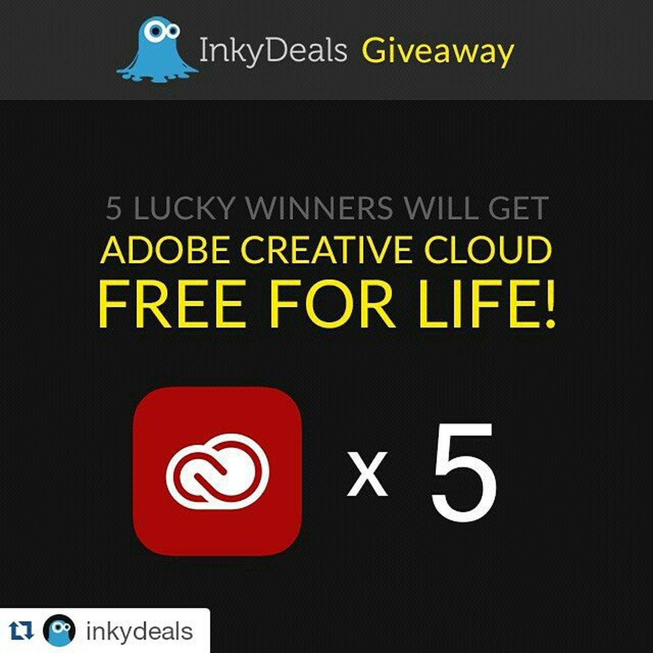Repost @inkydeals ・・・ Enter our giveaway to win Adobe CC for life Free! This is your once in a lifetime chance to get an account paid in full by us every year forever! Giveaway link in profile Adobe Design Adobeillustrator Adobephotoshop Adobecc Graphicdesign Free ArtWork Cooldesign Webdesign Creative Photoshop Cool Amazing Win Awesome Designers Typography Giveaways Contest Illustrations