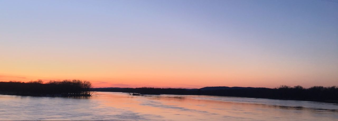 Beautiful sunset over the Lower Wisconsin River in Muscoda. Water Nature Beauty In Nature Sunset Scenics Tranquility Reflection Clear Sky Idyllic Silhouette Tree Sky Landscape River Wisconsin River Muscoda
