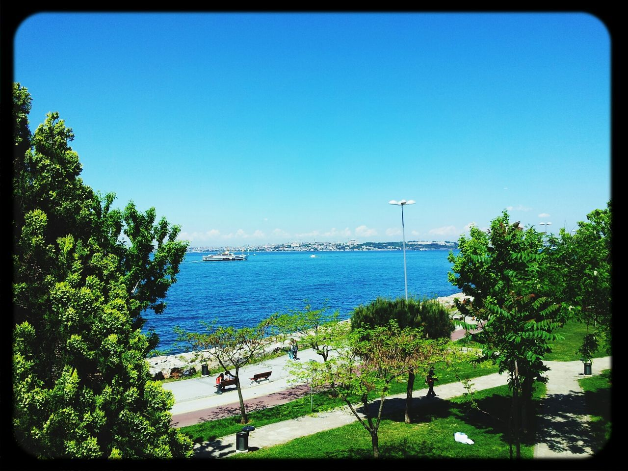 sea, water, tree, nature, clear sky, blue, day, summer, outdoors, no people, beach, beauty in nature, scenics, architecture, sky