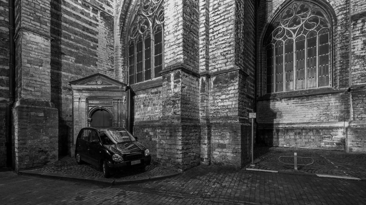Built Structure Church Classic Classic European Cars Nature Nightphotography Odd Parking Parking Stone Wall
