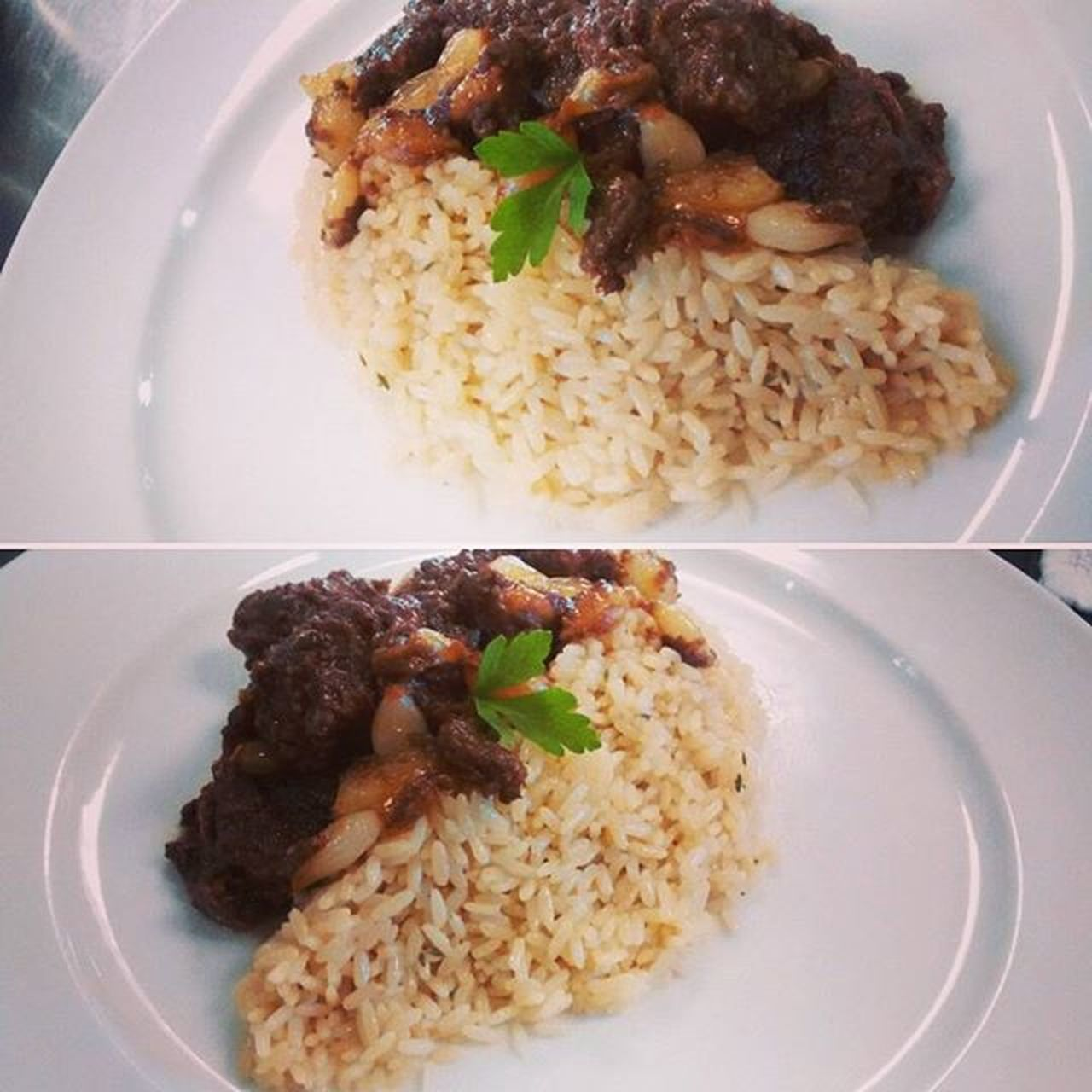 ~to much ingredients to name rich pork with mush,onion pearls,redwine side of rice~ mm so good! Rice Asianfood Pork Foodgasm Yummy Sogood Plate Calinary Rich Mouthwatering