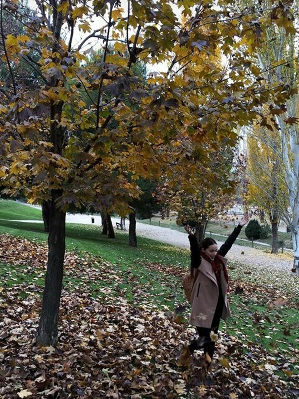 tree, autumn, leaf, nature, change, real people, field, branch, day, outdoors, growth, one person, full length, standing, beauty in nature, tree trunk, lifestyles, women, young women, grass, young adult, adult, people