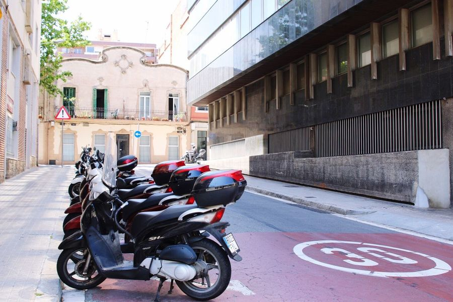 Mopeds line the streets of Barcelona