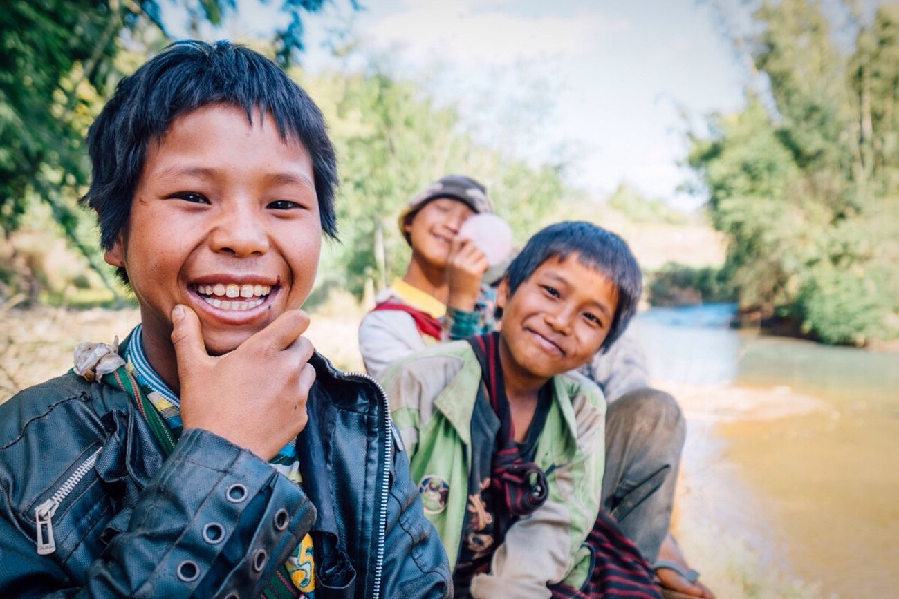 Sweetest boys chilling riverside in Burma! Portrait Kids Being Kids Kids Traveling Travel Smile FUJIFILM X-T1 Showcase April Happy :) Up Close Street Photography