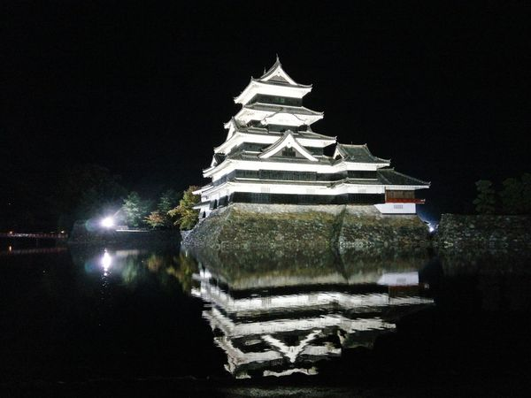 Force Fortified Wall Fortification Strength Force Japanese Architecture Japanese Castle Water Reflection 松本城 Night Pagoda Architecture No People Travel Destinations Outdoors Sky
