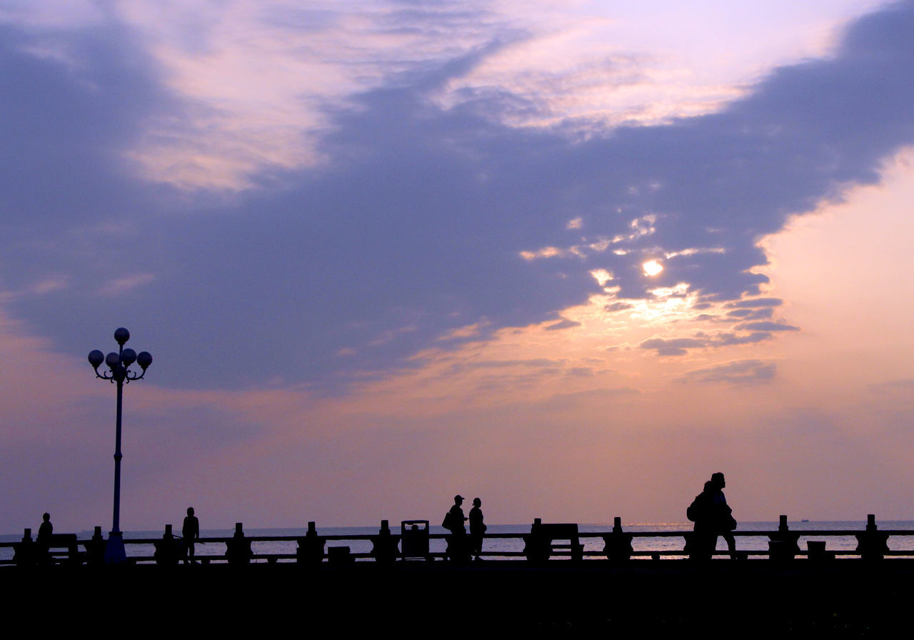 Beauty In Nature Calm China Cloud Cloud - Sky Cloudscape Dramatic Sky Group Of People Lamp Post Lovers Road Nature Outdoors Outline Scenics Silhouette Sky Solitude Street Photography Streetphotography Sunrise Tranquility Zhuhai