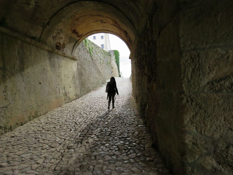 Architecture Indoors  Arch Walking Silhouette Tunnel Full Length Built Structure Child Togetherness Castle Day People Adult Girl With Green Jacket Tunnel Entrance Castle Castle Ruins Walking Away Break The Mold Art Is Everywhere TCPM