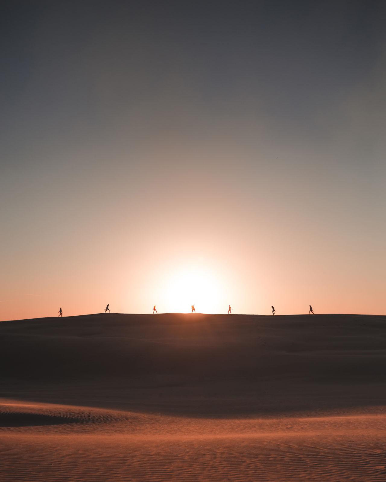 Adventure Desert Desert Journey Landscape Nature No People Outdoors Sand Sand Dune Silhouette Sillouette Sky Sun Sunset Travel Fresh On Market 2016