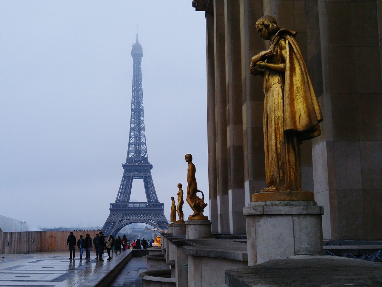 Gloomy day, amazing sight. Golden Eiffel Tower Paris Famous Places Travel Photography Rain Gloomy Day Cloudy From My Point Of View Art Showcase: January