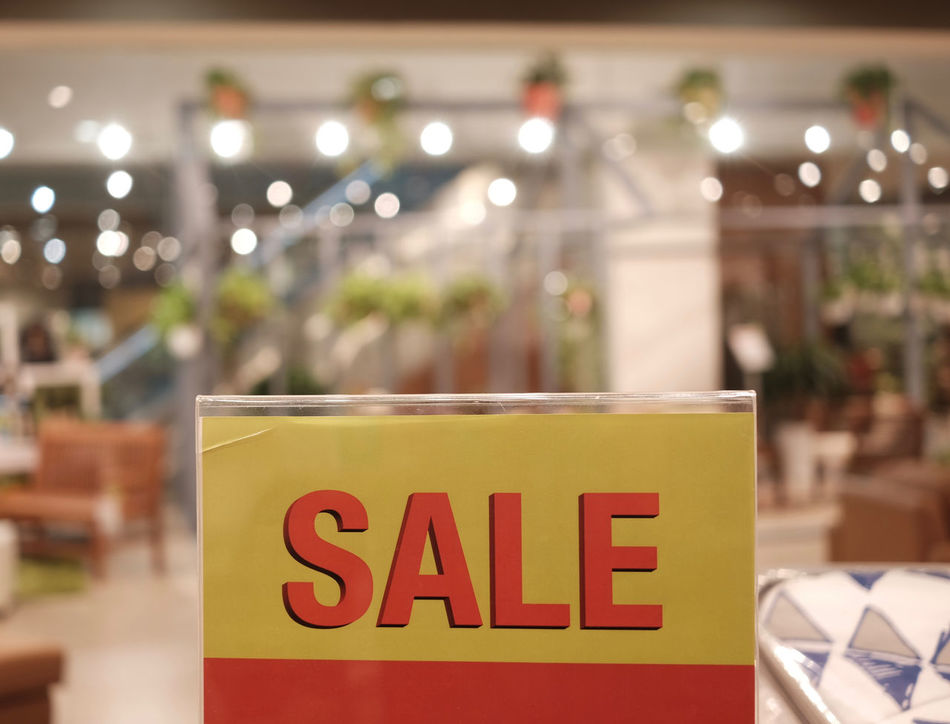 Sale Advertising Bank Close-up Consumerism Discount Emi Festive Season Focus On Foreground Information Information Sign No People Red Sale Selective Focus Shopping Text Western Script