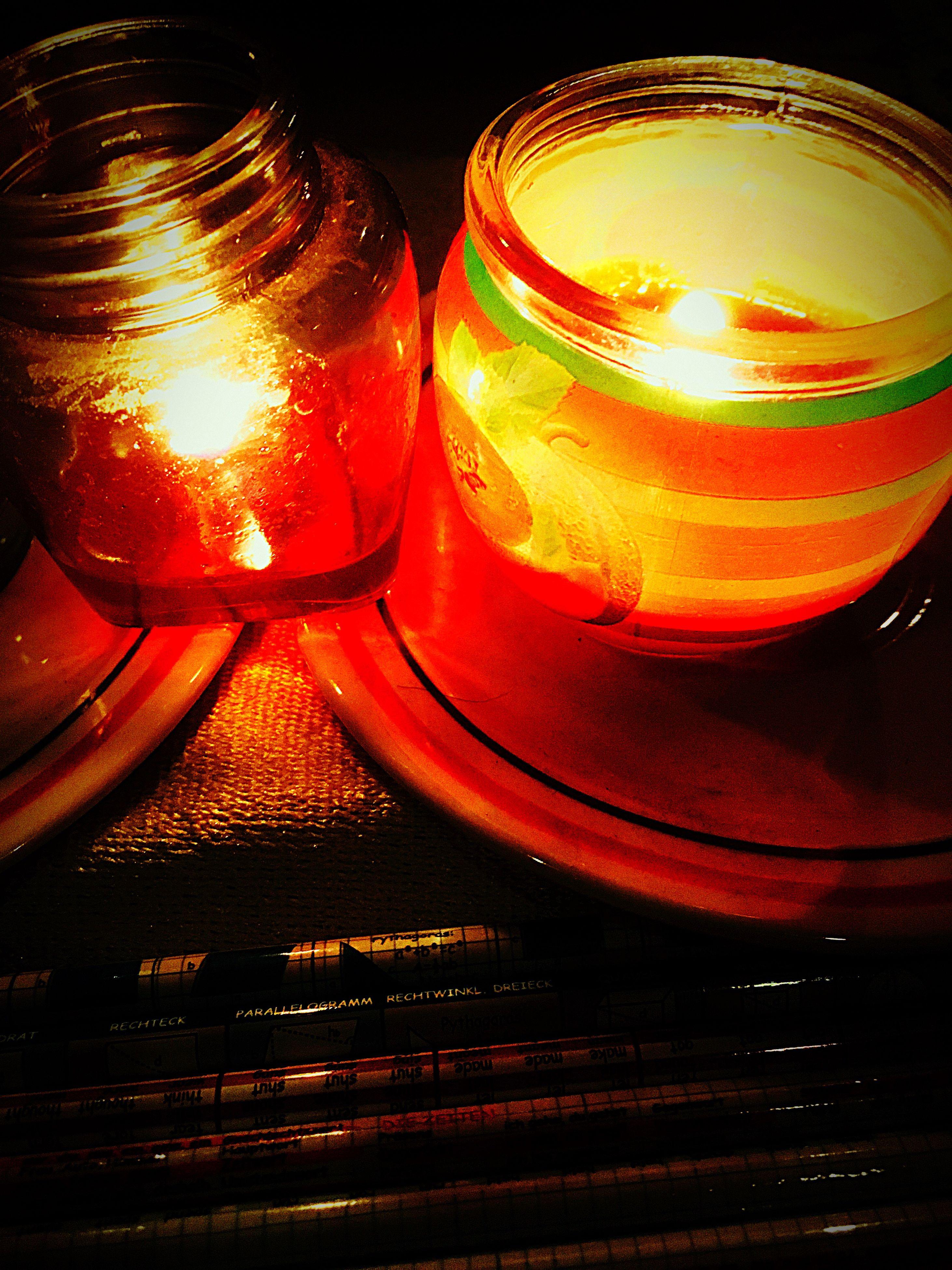 illuminated, red, no people, close-up, night, indoors, tea light