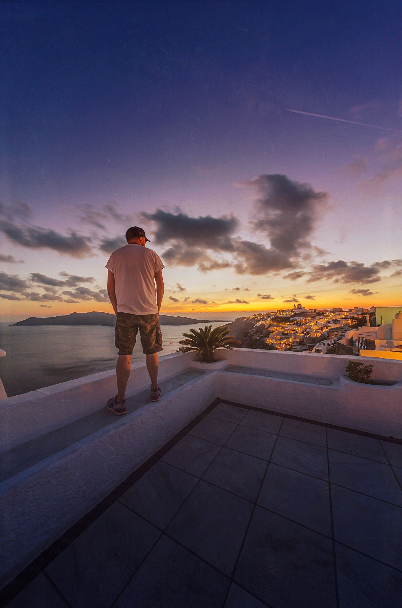 Warm Dusk | Oia, Santorini Greece Sunset Full Length Sky Nature One Man Only Outdoors One Person Scenics Men Beauty In Nature Adult Only Men People Adults Only Dusk Santorini Greece Seascape Sea And Sky Taking In The View. Summer Holiday Summer Nights Oia Sunset_collection