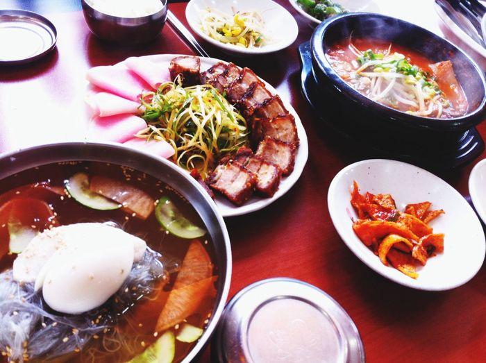 Korean Food // Kimchi stew, boiled pork, naengmyeon(Korean cold noodles)// Food Porn Enjoying A Meal Yam Yam