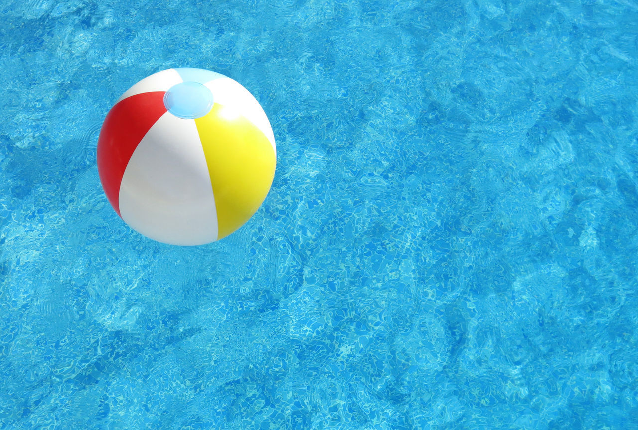 Beautiful stock photos of schwimmen, Close-up, absence, beach Ball, blue