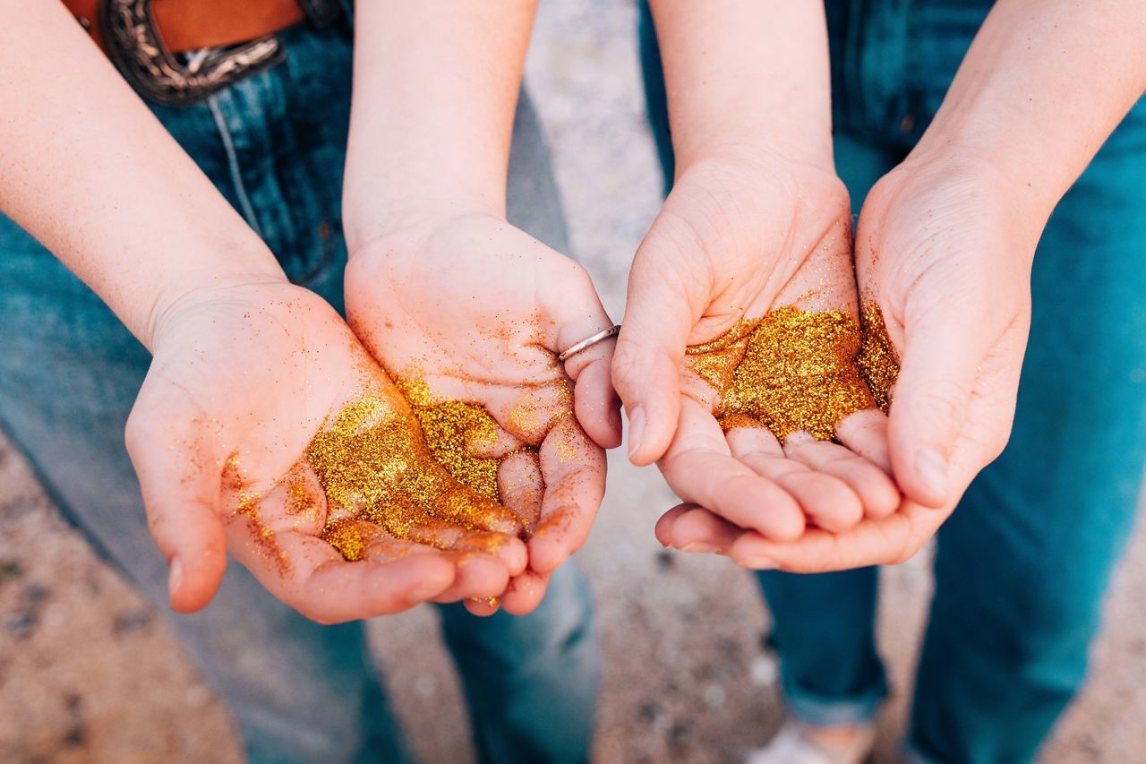 Art Art And Craft Beautiful Close-up Day Friendship Fun Girls Glitter Glitter & Sparkle Glittering Gold Golden Hands Holding Human Hand Magic Outdoors People Powder Together Togetherness Women Fresh On Market 2017