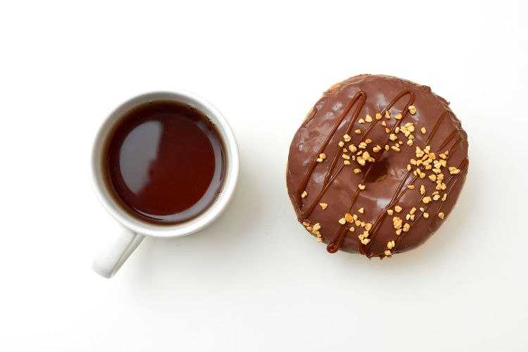 Cup Delicious Donut On The Table White Background White Cup White Table