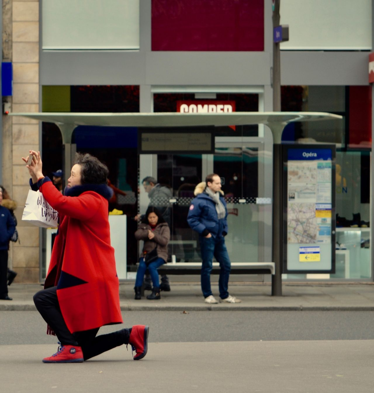 Captured Moment City Kneeling Outdoors Paris Photography Red Red Coat Red Shoes Smile Taking Photos Tourist