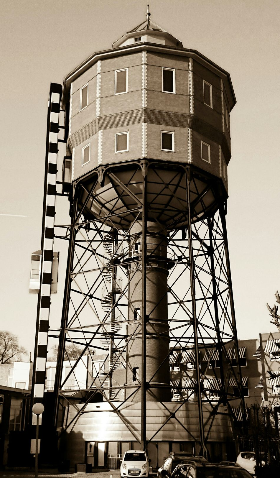 Discover Your City Groningen, Old Buildings. Water Tower in Monochrome, Architecture