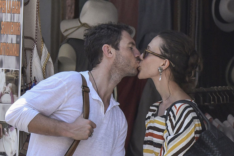 The actress Gabriella Pession and her husband, the actor Richard Flood, in Portofino - Summer 2016 Actor Actress Backgrounds Car Casual Clothing Celebrities Celebrity Celebrity Sighting Couple Gabriella Pession Happiness Italy Kisses Leisure Activity Lifestyles Outdoor Photography Person Portofino Richard Flood Sunglasses Togetherness Vip Young Adult Young Men